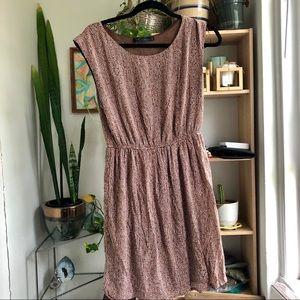 Zara Basic | sleeveless brown & white dot dress M